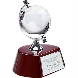 Spinning Crystal Globe Award On Wood Base