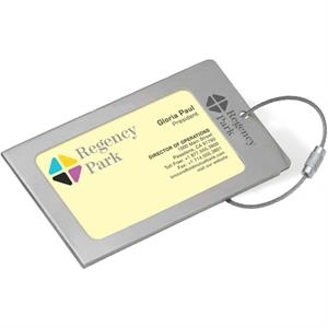 Brushed Steel Business Card Id/luggage Tag With Steel Cable Closure