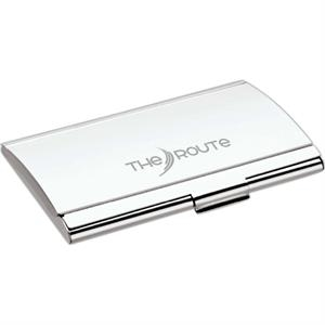Silver Finish Business Card Case With Arched Lid