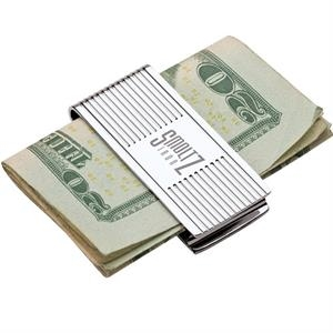 Pinstriped Chrome Money Clip