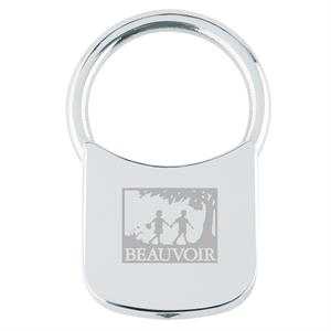 Metal Square Key Holder With Shiny Chrome Finish, Pull-and-turn Ring