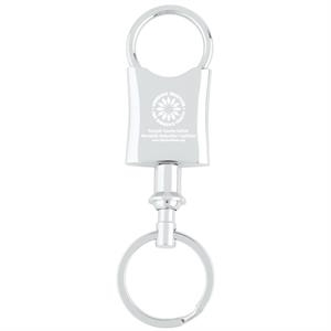 "Polished Chrome Metal Body, Pull-apart Key Tag For Valet. 2 1/8"" X 1 1/8"" Dia"