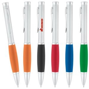 Sweda Snuggle - Satin Finish Pen With Silver Accents & Rubber Grip
