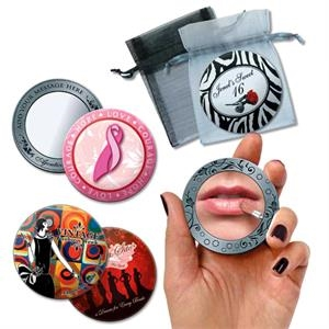 Purse Mirror Printed With Your Custom Design With Gift Pouch