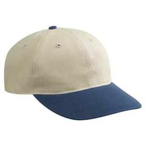 Two Tone Six Panel Washed Bull Denim Pro Style Cap With Plastic Snap. Blank