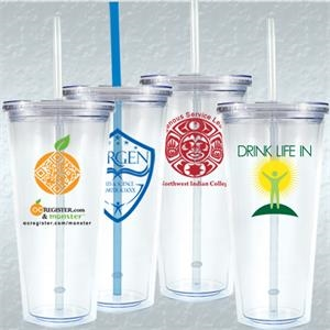 20 Ounce Acrylic Doublewalled Insulated Tumbler Cup With Lid And Straw
