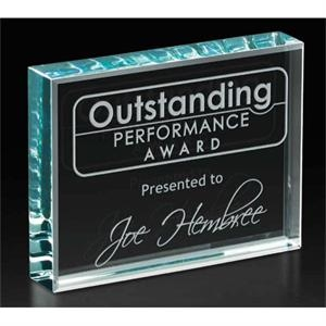 Polished Starphire Glass Banner Award, 7/8 Lb
