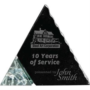 Stone - Ebony Stone/recycled Glass Triangle Shaped Award, 1 1/2 Lbs