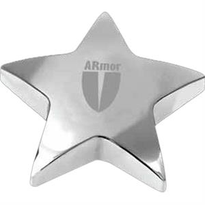 Starbright Ii - Chrome Plated Star Shaped Zinc Alloy Paperweight With Pouch, 13 Oz