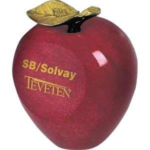 Red Marble With Brass Apple Shaped Paperweight
