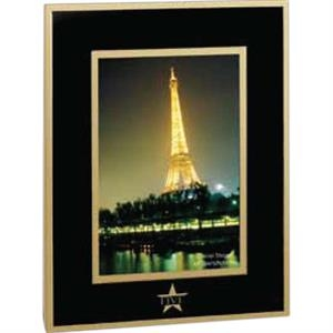 "Barclay - Black/goldtone Aluminum Photo Frame That Holds A 3 1/2"" X 5"" Photo"