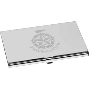 Peerless Ii - Silver-plated Brass Business Card Case With Pouch