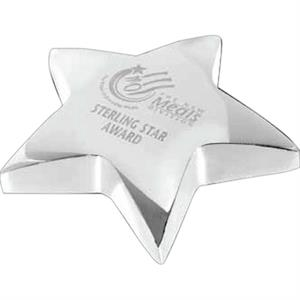 Super Star - Silver Plated Brass Star Shaped Paperweight With Pouch