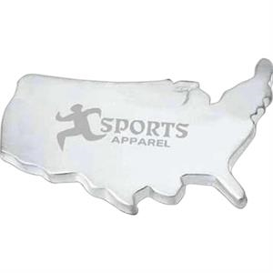 Mapweight - Matte Silver Plated Zinc Alloy Map Weight In The Shape Of Usa With Pouch