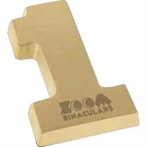 Golden Number One Paperweight With Pouch