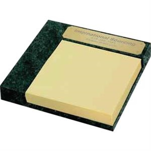 "Senator Ii - Marble Memo Holder With Pad, 4 1/2"" X 4 1/2"" X 1/2"""