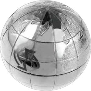 Polished Silver Plated World Globe Shaped Zinc Alloy Paperweight