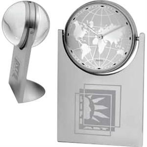 Space Age - Upright Spinning Magnifier Globe With Map Clock
