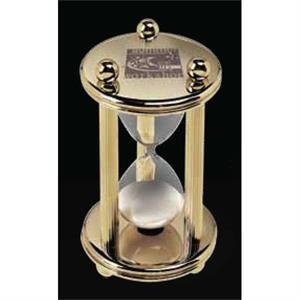 "Designer Gallery - Gold Plated Brass Sand Timer, Approximately 5 Minutes, 2 3/4"" Diameter X 4"""