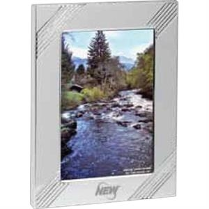 "Carlton - Silvertone Aluminum Frame, Holds A 3 1/2"" X 5"" Photo"