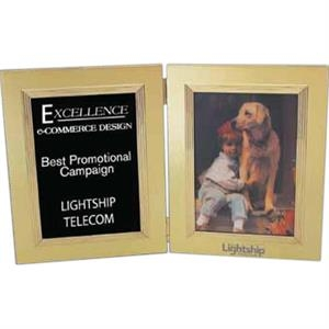 "Duet - Goldtone Aluminum Double Photo Frame, Holds 5"" X 7"" Image"
