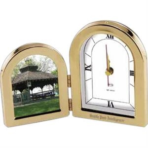 Milano I - Gold Plated Brass Double Frame With Clock