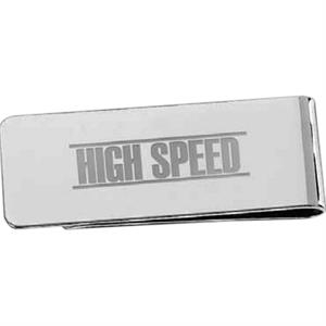 "Silver-plated Brass Money Clip With Pouch, 2 1/8"" X 3/4"" X 3/8"""