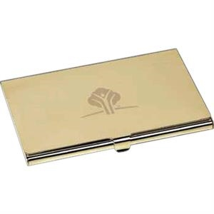 Peerless I - Gold-plated Brass Business Card Case With Pouch