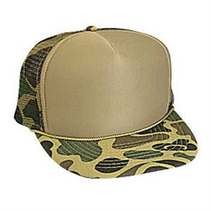 Two Tone Camouflage Golf Style Cap With Foam Front And Mesh Back. Blank