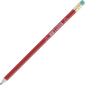 Newsprencil (tm) - 1 Color Imprint - Red - Round Barrel Pencil, #2 Core, Made From 75% Recycled Newspaper And 25% New Paper