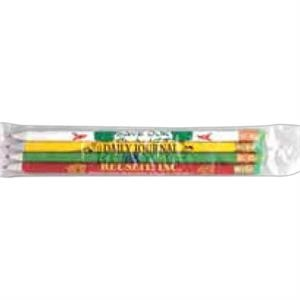 Pla Heat-sealed Sleeve, Holds 4 Round Or Hexagonal Pencils. Blank