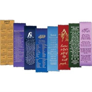 The Books Of The Bible - Pinked Edged Ribbon Bookmark With Stock Inspirational Sayings