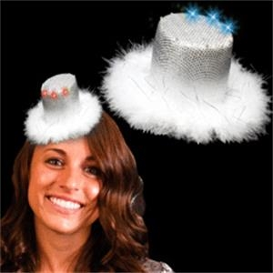 Silver Mini Light Up LED Glow Top Hat Costume Fascinator