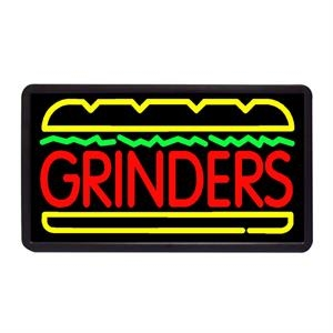 """Grinders 13"""" x 24"""" Simulated Neon Sign"""