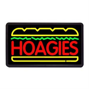 "Hoagies 13"" x 24"" Simulated Neon Sign"