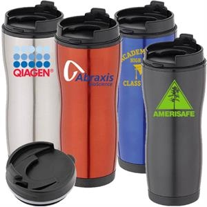 Stainless Steel And Plastic 16 Oz. Travel Tumbler With Flip Top