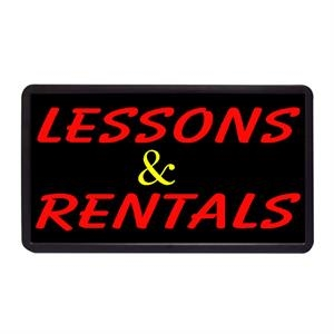 "Lessons and Rentals 13"" x 24"" Simulated Neon Sign"