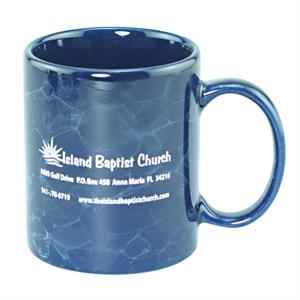 11 Oz. Marbleized Ceramic Mug With C-handle. 2-day Quickship