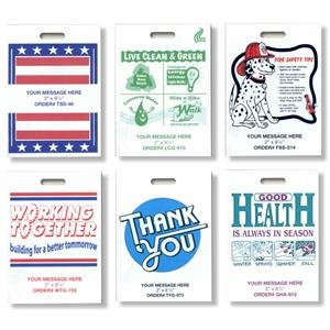 Stars/stripes - Single Wall Stock Design Grab Bags With Die-cut Handle, 2.0 Mil. Plastic
