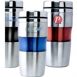 The Aroma - Blue - Stainless Steel Tumbler With Translucent Comfort Grip, 16 Oz