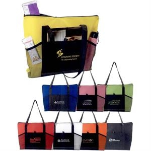The Malibu - Black - Multi-purpose, Lightweight Tote With Top Zipper