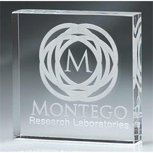 Stock Laser Engraved Paperweights - Digicolor Substitute - Square Block Paperweight. New!