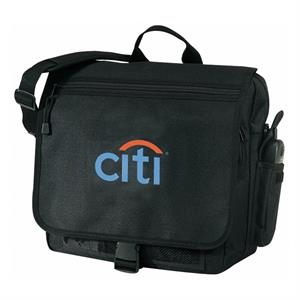 Embroidery - Corporate Brief Bag With Exterior Cell Phone Pocket. Black Color