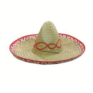 Straw Sombrero With Imprinted Band