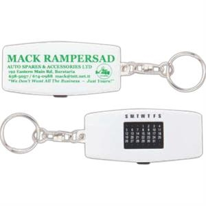 "Key Chain With Perpetual Calendar In A Plastic Case, 2 7/8"" X 1 1/4"" X 5/16"""