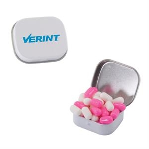 Mint Tin Maniacs - White Mini Mint Tin With Colored Bullet Candy. Colored Candy In Mint Tin