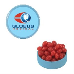 Mint Tin Maniacs - Small Light Blue Snap-top Mint Tin With Cinnamon Red Hot. Red Hot Candy In Mint Tin