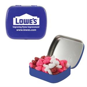 Mint Tin Maniacs - Small Blue Mint Tin With Candy Hearts. Heart Shaped Candy In Mint Tin
