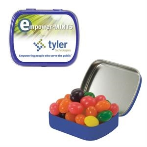 Mint Tin Maniacs - Small Blue Mint Tin With Jelly Beans. Candy Jelly Beans In Mint Tins
