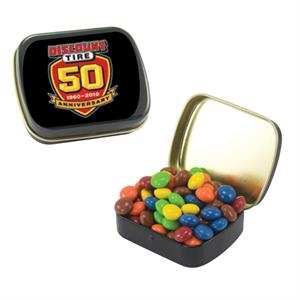 Mint Tin Maniacs - Small Black Mint Tin With Chocolate Littles. Chocolate Candy In Mint Tin